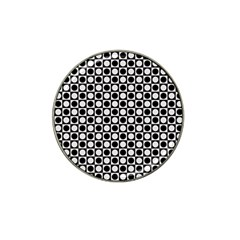 Modern Dots In Squares Mosaic Black White Hat Clip Ball Marker