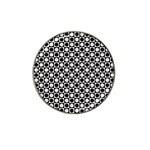 Modern Dots In Squares Mosaic Black White Hat Clip Ball Marker (4 pack) Front