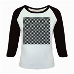 Modern Dots In Squares Mosaic Black White Kids Baseball Jerseys Front