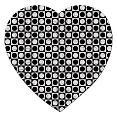 Modern Dots In Squares Mosaic Black White Jigsaw Puzzle (heart)
