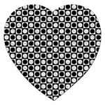 Modern Dots In Squares Mosaic Black White Jigsaw Puzzle (Heart) Front
