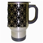 Modern Dots In Squares Mosaic Black White Travel Mug (Silver Gray) Right