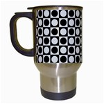 Modern Dots In Squares Mosaic Black White Travel Mugs (White) Left