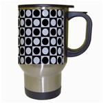 Modern Dots In Squares Mosaic Black White Travel Mugs (White) Right