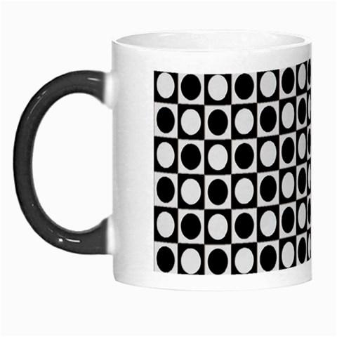 Modern Dots In Squares Mosaic Black White Morph Mugs