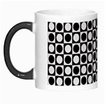 Modern Dots In Squares Mosaic Black White Morph Mugs Left