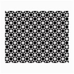 Modern Dots In Squares Mosaic Black White Small Glasses Cloth Front