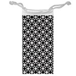 Modern Dots In Squares Mosaic Black White Jewelry Bags Front