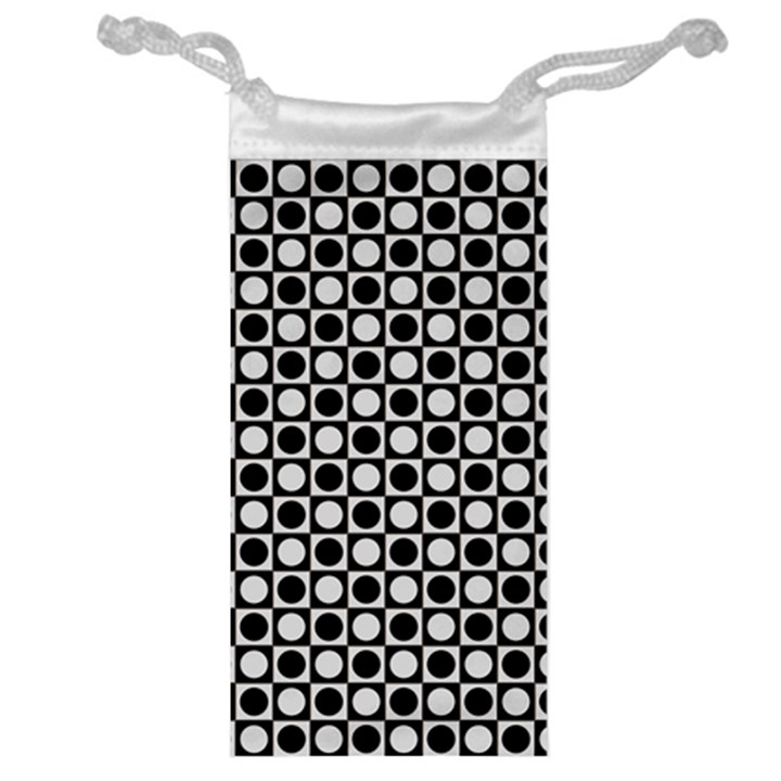 Modern Dots In Squares Mosaic Black White Jewelry Bags