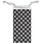 Modern Dots In Squares Mosaic Black White Jewelry Bags Back