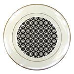 Modern Dots In Squares Mosaic Black White Porcelain Plates Front