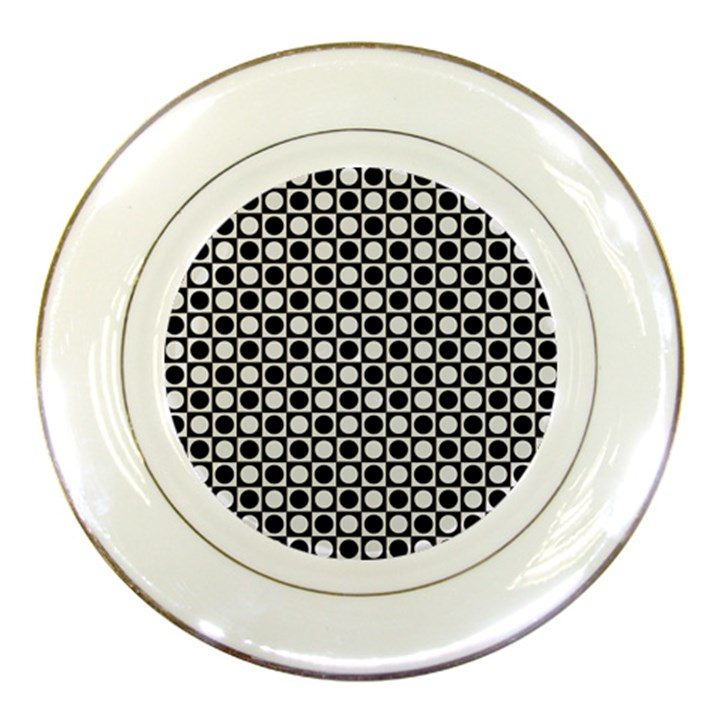 Modern Dots In Squares Mosaic Black White Porcelain Plates