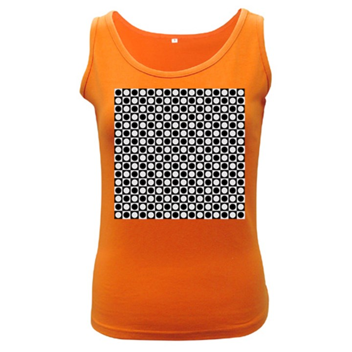 Modern Dots In Squares Mosaic Black White Women s Dark Tank Top