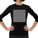 Modern Dots In Squares Mosaic Black White Women s Long Sleeve Dark T-Shirts Front