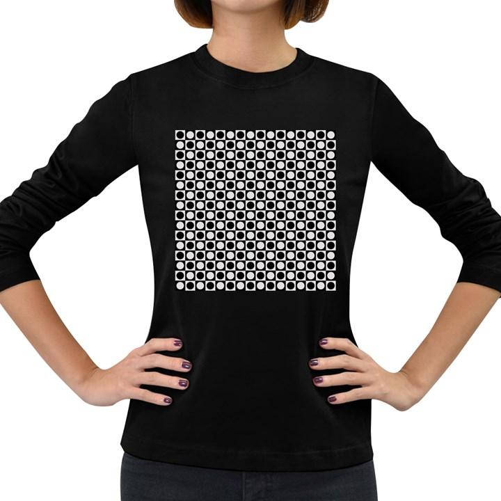 Modern Dots In Squares Mosaic Black White Women s Long Sleeve Dark T-Shirts