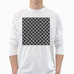 Modern Dots In Squares Mosaic Black White White Long Sleeve T-Shirts Front