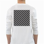 Modern Dots In Squares Mosaic Black White White Long Sleeve T-Shirts Back