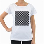 Modern Dots In Squares Mosaic Black White Women s Loose-Fit T-Shirt (White) Front
