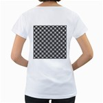 Modern Dots In Squares Mosaic Black White Women s Loose-Fit T-Shirt (White) Back