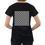 Modern Dots In Squares Mosaic Black White Women s Loose-Fit T-Shirt (Black) Back