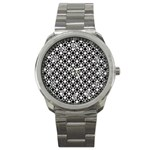 Modern Dots In Squares Mosaic Black White Sport Metal Watch Front