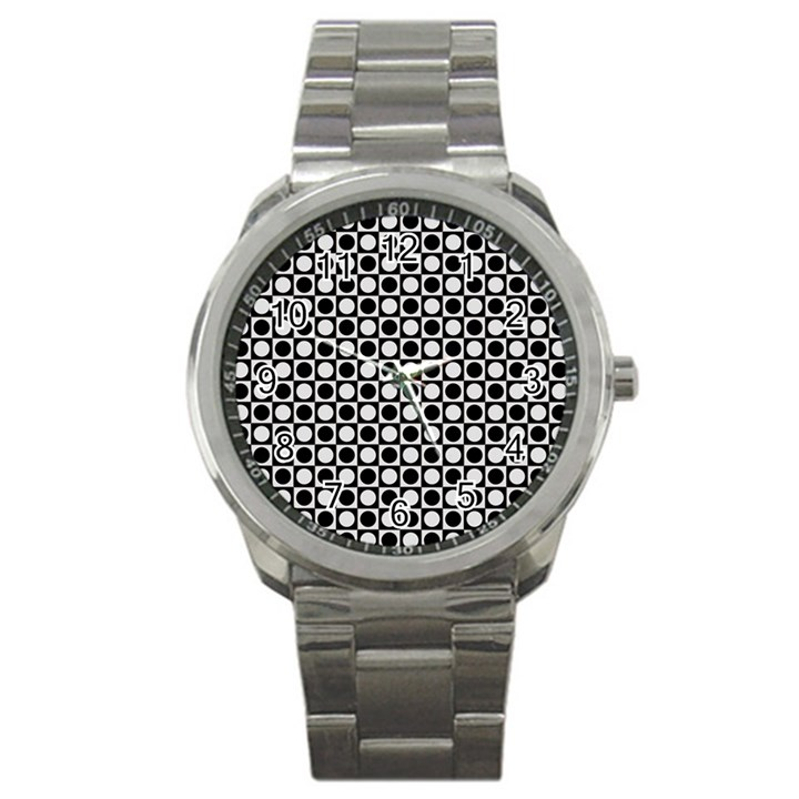 Modern Dots In Squares Mosaic Black White Sport Metal Watch