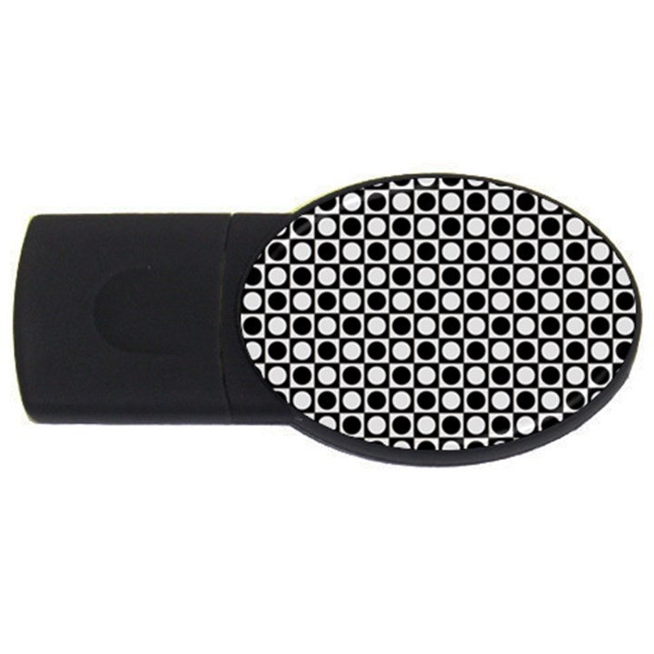 Modern Dots In Squares Mosaic Black White USB Flash Drive Oval (4 GB)