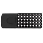 Modern Dots In Squares Mosaic Black White USB Flash Drive Rectangular (4 GB)  Front