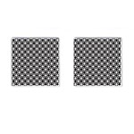 Modern Dots In Squares Mosaic Black White Cufflinks (Square) Front