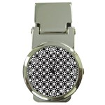 Modern Dots In Squares Mosaic Black White Money Clip Watches Front