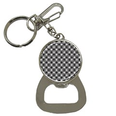 Modern Dots In Squares Mosaic Black White Bottle Opener Key Chains