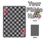 Modern Dots In Squares Mosaic Black White Playing Cards 54 Designs  Front - Heart5