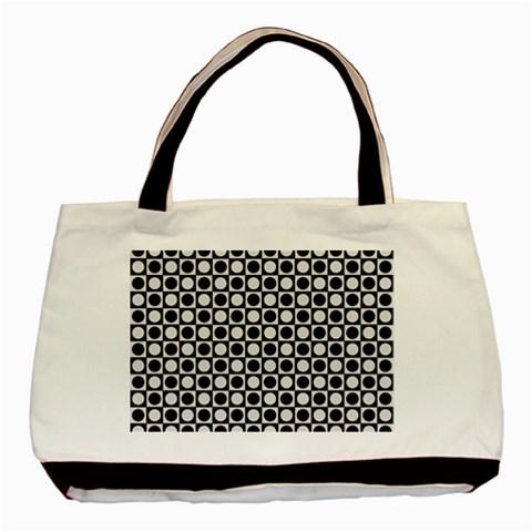 Modern Dots In Squares Mosaic Black White Basic Tote Bag