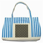 Modern Dots In Squares Mosaic Black White Striped Blue Tote Bag Front