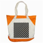 Modern Dots In Squares Mosaic Black White Accent Tote Bag Front