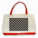 Modern Dots In Squares Mosaic Black White Classic Tote Bag (Red) Front