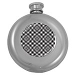 Modern Dots In Squares Mosaic Black White Round Hip Flask (5 oz) Front