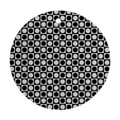Modern Dots In Squares Mosaic Black White Round Ornament (two Sides)