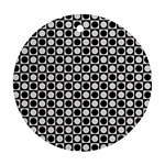 Modern Dots In Squares Mosaic Black White Round Ornament (Two Sides)  Back