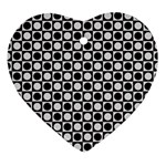 Modern Dots In Squares Mosaic Black White Heart Ornament (2 Sides) Front