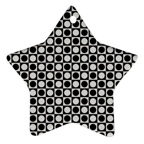 Modern Dots In Squares Mosaic Black White Star Ornament (Two Sides)