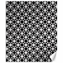 Modern Dots In Squares Mosaic Black White Canvas 8  x 10