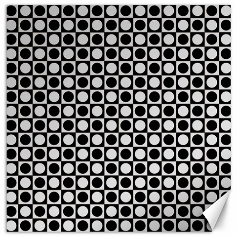 Modern Dots In Squares Mosaic Black White Canvas 12  x 12