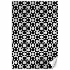 Modern Dots In Squares Mosaic Black White Canvas 12  x 18