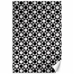 Modern Dots In Squares Mosaic Black White Canvas 12  x 18   18 x12 Canvas - 1
