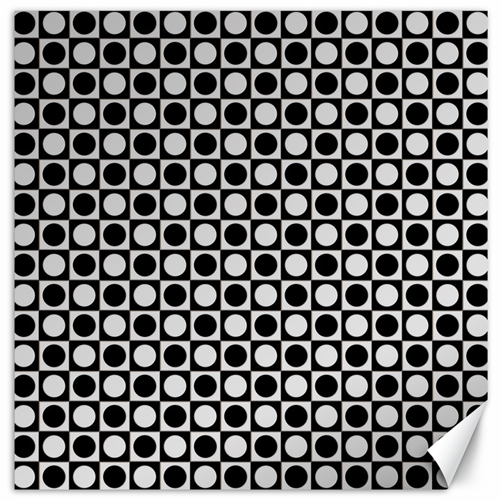Modern Dots In Squares Mosaic Black White Canvas 16  x 16