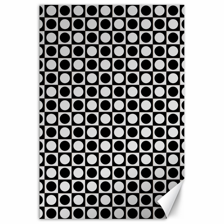 Modern Dots In Squares Mosaic Black White Canvas 20  x 30