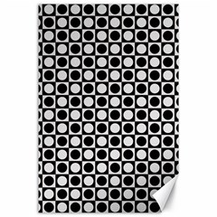 Modern Dots In Squares Mosaic Black White Canvas 24  X 36