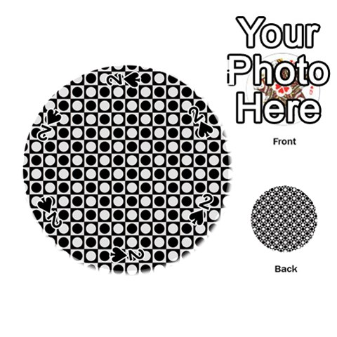 Modern Dots In Squares Mosaic Black White Playing Cards 54 (Round)