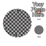 Modern Dots In Squares Mosaic Black White Playing Cards 54 (Round)  Front - Spade3